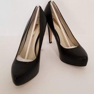 BCBGeneration Black Leather Parade Heels 6.5